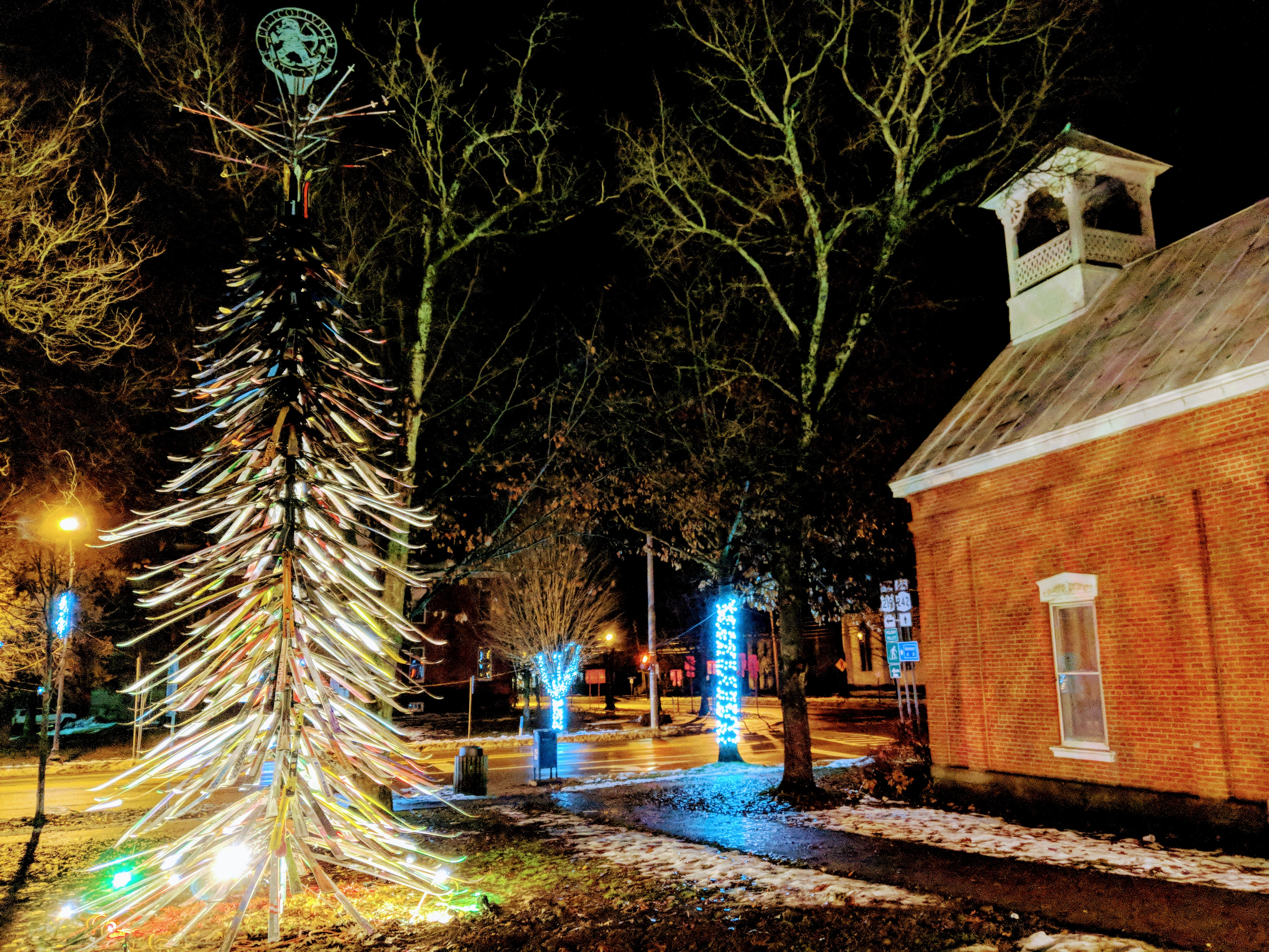 Historic village holiday lights